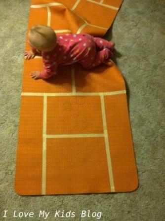 DIY Indoor hopscotch mat fun to make with kids except babies