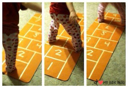 DIY Indoor hopscotch mat fun