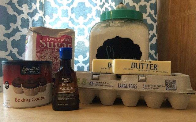ingredients for baked brownie pudding