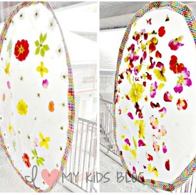 DIY Pretty Easter Egg Suncatcher — made with Spring flowers! Great project to do with kids!