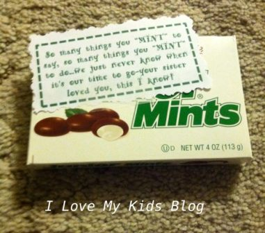 Grief Gift basket junior mints
