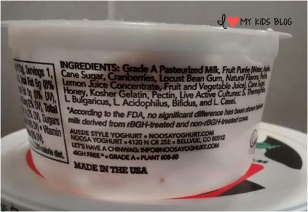 Noosa Yoghurt ingredients