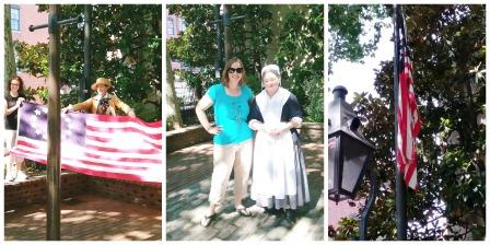 flag raising at Betsy ross House Collage