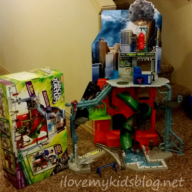 tmnt-city-sewer-lair-playset-completely-assembled-next-to-box-it-came-in