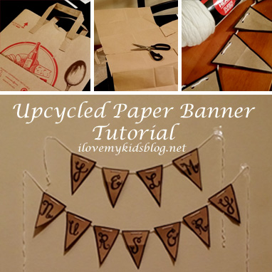 Upcycled Paper Banner Tutorial by ilovemykidsblog