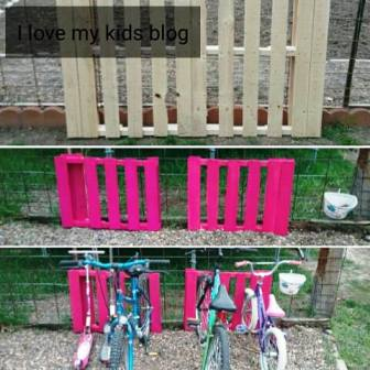 DIY pallet bike rack collage