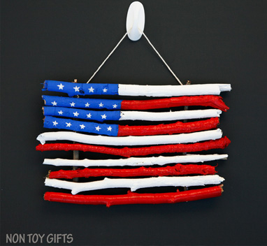 4th of July Craft Ideas- American Flag made with Sticks