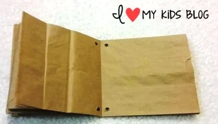 Paper bag craft journal punch holes in bag