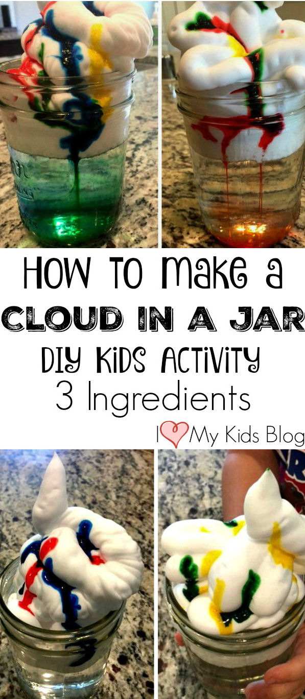 How to make a cloud in a jar, DIY kids activity, 3 ingredients