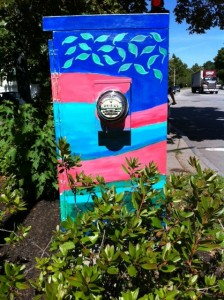 newton art in streets, electrical box