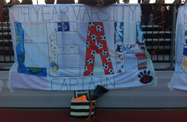 NNHS Girls Soccer Honor Seniors with special sheets