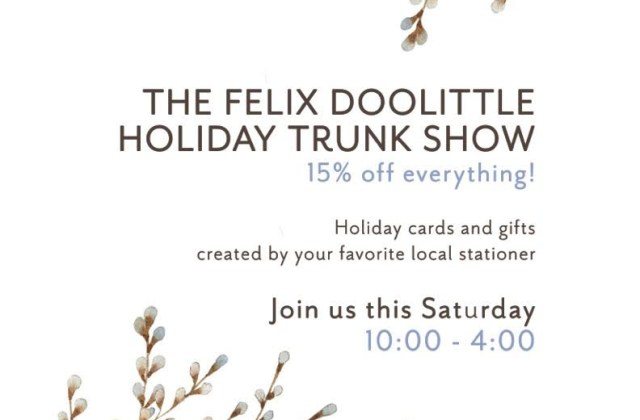 Felix Doolittle Holiday Trunk Show at L'Aroma Cafe