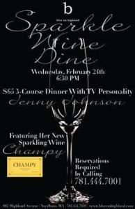 Blue on Highland Hosts Jenny Johnson for Sparkling Wine Dinner