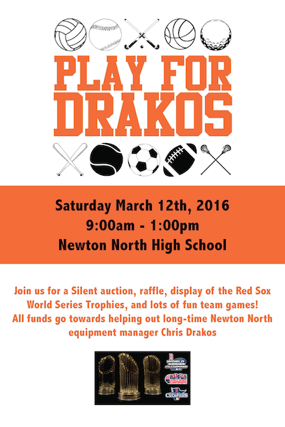 Help raise funds for equipment manager Chris Drakos