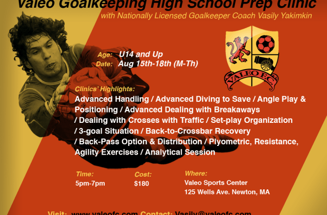 Valeo Futbol Goalkeeping High School/College Prep Clinic