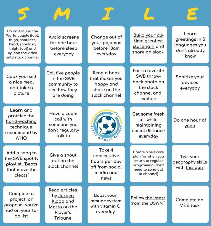 SMILE Bingo Challenge from Soccer Without Borders