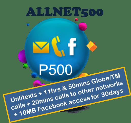Globe Prepaid ALLNET500 Unli Call & Text Promo
