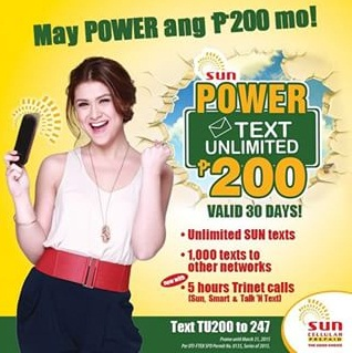 Sun Cellular TU200 Unli Call & Text Promo
