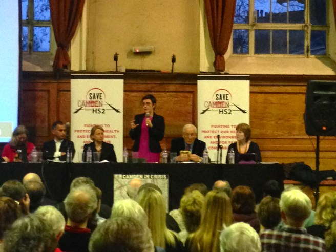 Sarah Hayward addressing the meeting, with Murad Qureshi, Natalie Bennett, Martin Sheppard and Cllr Pat Calaghan.