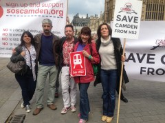 PRIMROSE HILL PROTESTS OUTSIDE PARLIAMENT AGAINST HS2: KYLIE SMITH, JC SLOWIK, PHIL COWAN, TRISH BERTRAM AND KATHERINE SYKES