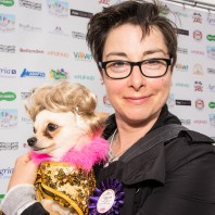 Sue Perkins, one of the celebrity judges at the PupAid dog show 2014. Photo by Julia Claxton.