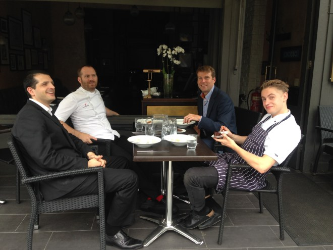 Bryn Williams and his team at Odette's Restaurant, taking an alfresco moment.
