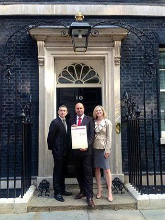 PUPAID DIRECTORS STUART VERNON, MARC ABRAHAM AND BEX WELLER DELIVERING THE PETITION TO DOWNING STREET, 2014