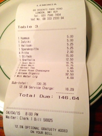 £146.64 FOR FOUR OF US. GREAT VALUE FOR AN EXCELLENT MEAL