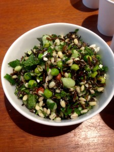 wild rice salad with barley, toasted almonds, mint, parcel and goats' cheese