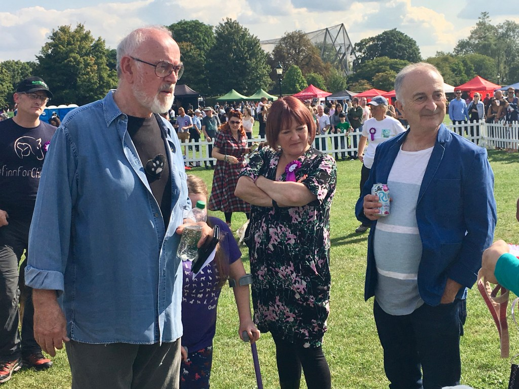 PETER EGAN AND SIR TONY ROBINSON JUDGING THE BRAVEST DOG CATEGORY
