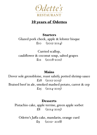 TEN YEARS OF ODETTE'S MENU