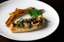 Dover sole grenobloise, roast salsify, potted shrimp sauce £28 (2012-2013)