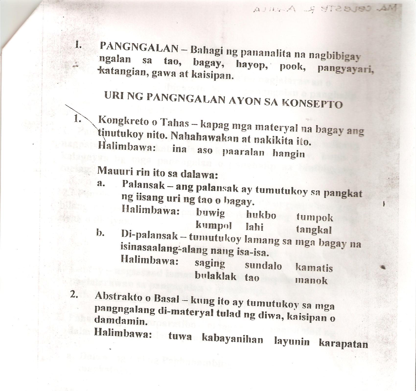 Worksheet Sa Gamit Ng Pangngalan