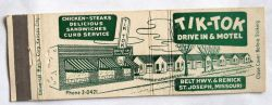 Tik Tok Motel Matchbook Cover St. Joseph Mo