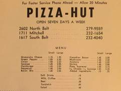Pizza Hut Menu 1971