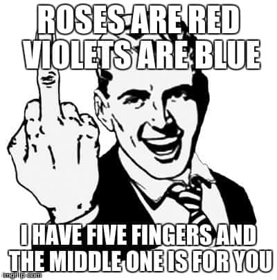 Roses Are Red And Violets Are Blue Funny Middle Finger Picture
