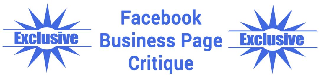 Exclusive Facebook Business Page Critique