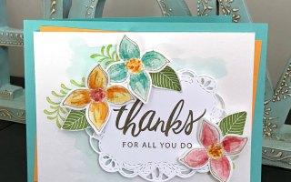 SU Only Challenges:  Pop of Petals watercolor card