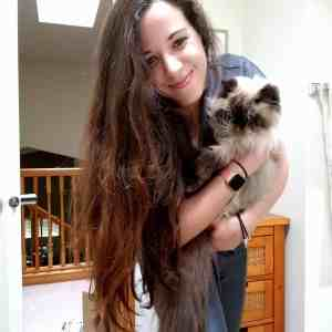 Nicole LaForest with a cat