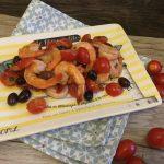 Insalata tiepida di mazzancolle, pomodorini e olive taggiasche