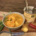 Curry di gamberi argentini al latte di cocco e zenzero