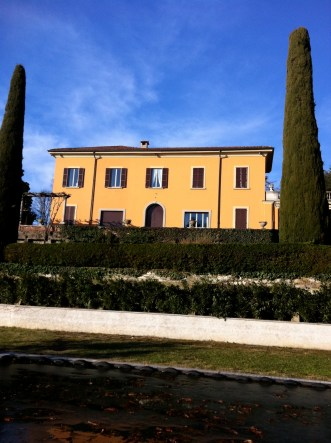 Winter view of the house from the swimming pool