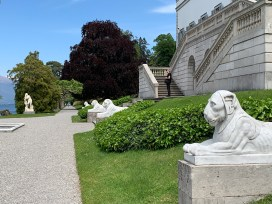 The lions guarding the villa entrance