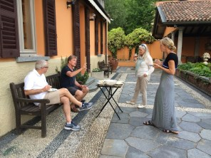 Pre-dinner appetizer on the south terrace at Poggio Verde