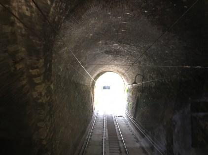 Inside the short funicular ride to Bergamo Alta