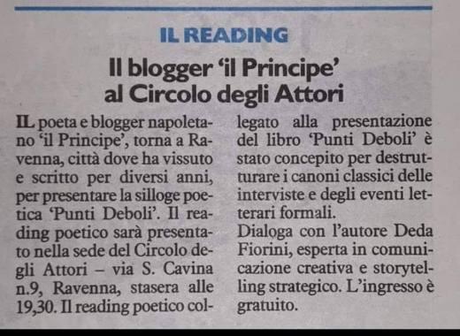 Reading punti Deboli 26 ottobre Ravenna Resto del Carlino