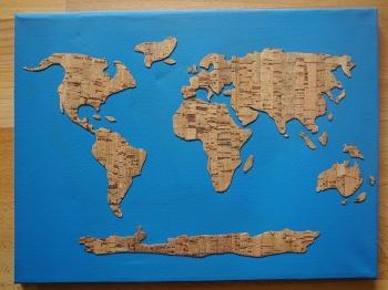 Weltkarte aus Korkstoff