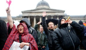 Anti-Thatcher demonstration in Trafalgar Square
