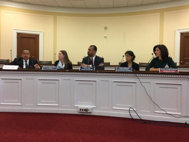 Photo: Stacy Mitchell on panel at Congressional briefing.