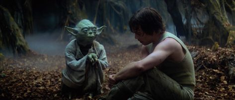 Yoda che spiega a Luke Skywalker cosa sia la forza sul pianeta Dagobah